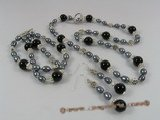 pnset156 Fashion black rice pearl,black agate&Austria crystal jewlery set for bridal