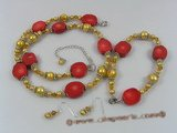 pnset157 Fashion champagne nugget pearl necklace jewelry set with coral beads