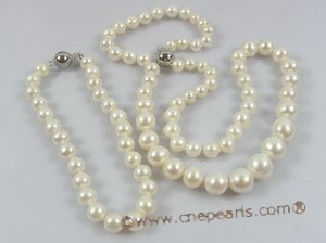 pnset162 Gradual of size white off round freshwater pearl necklace bracelet jewelry set