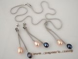 pnset166  Sterling Silver Lariat multi color Rice Pearl  Drop Pendant Earrings Set