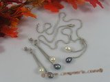 pnset168 Sterling Silver Lariat multi color Rice Pearl Drop Pendant Earrings Set