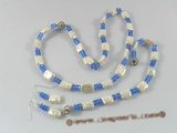 pnset177 White oblong biwa pearl purple crystal jewelry set in wholesale