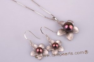 pnset180 Black bread pearl pendant jewelry with sterling flower petals moutting