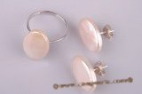 pnset181 Wholesale sterling silver oval coin pearl ring&earring jewelry set