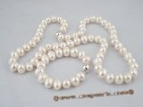 pnset183 Wholesale 11-12 Large off-round freshwater pearl necklace& bracelet jewerly set