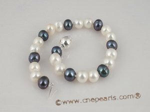 pnset185 Fine quality white & black 7-8mm potato pearl necklace in wholesale