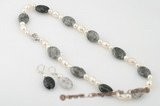 pnset188 hand-crafted white cultured pearl and Tourmaline necklace earring set