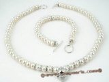 pnset193 7-8mm cultured Freshwater button Pearl & Sterling Silver Toggle necklace set