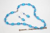 pnset202 sky blue spiral opal necklace&earrings set with faceted crystal
