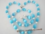 pnset203 cultured pearl and sky blue spiral opal necklace set on sale