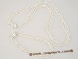 pnset206 Triple strands white rice seed pearl necklace and bracelet set wholesale
