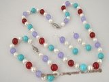 pnset209 multicolor gemstone and freshwater pearl necklace jewelry set in wholesale