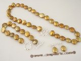 pnset222 wholesale 12-13mm freshwater coin pearl necklace &bracelet jewelry set in coffee