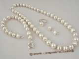 pnset223 luminous off-round 9-10mm white freshwater potato pearls necklace jewelry set