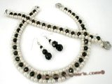 pnset224 Stylish hand knotted pearl & black crystal  choker necklace&bracelet jewelry set