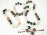 pnset226 Stylish cultured pearl&agate beads necklace jewelry set in wholesale