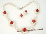 pnset227 Stylish hand knotted pearl & red coral necklace&earring set