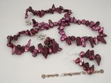 pnset234 8-11mm wine red hand knotted blister pearl Jewelry set clearance sale