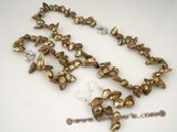 pnset238 hand knotted 8-11mm brown blister pearl Jewelry set clearance sale