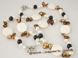 pnset255 Stylish cultured blister pearl&shell beads necklace jewelry set in wholesale