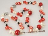 pnset256 Fashion blister pearl&red coral necklace jewelry set