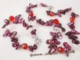 pnset257 Modern wine red cultured blister pearl and crystal summer necklace jewelry set