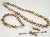 pnset267 Classic 6-7mm coffee freshwater bread pearl necklace &bracelet set in wholesale