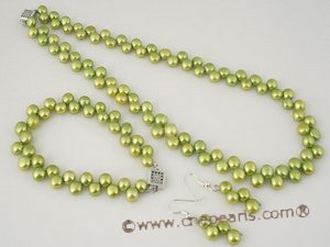 pnset269 Gorgeous 7-8mm green sid drilled bread pearl necklace &bracelet set in wholesale