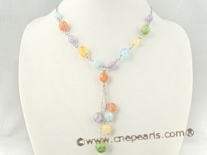 pnset276 multi-color crystal beads jewelry set with white metal chain