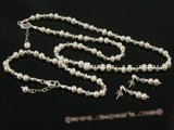 pnset279 wholesale White freshwater potato seed pearl with crystal beads jewelry set