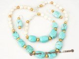 pnset292 Designer White Baroque Pearl, Freshwater Pearl and Turquoise Beaded summer jewelry set