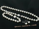 pnset298 Sterling silver White 8-9mm potato seed pearl jewelry set