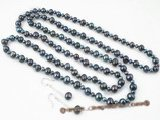 pnset300 Hand knotted Black potato pearl long necklace &earring jewelry set
