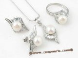 Pnset311 wholesale 7.5-8mm white bread pearl jewelry set in sterling silver