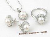 Pnset314 Elegant designer sterling silver 7.5-8m bread pearl jewelry set in white
