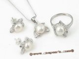 Pnset316 sterling silver 7-7.5mm white bread pearl jewelry set factory price on sale