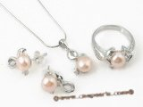Pnset320 Good quality 7-7.5mm pink bread pearl jewelry set in 925silver