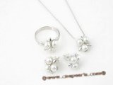 Pnset323 White freshwater seed pearl cluster flower Sterling silver jewelry set on sale