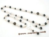 Pnset326 Elegant potato pearl and faceted smoking quartz jewelry set in sterling silver
