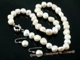 Pnset329 Fashion white baroque nugget pearl jewelry set in wholesale