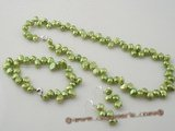Pnset339 Elegant Side-drilled freshwater nugget pearl jewelry set in green color