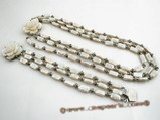 Pnset358 Elegant white biwa pearl triple strand jewelry set in wholesale