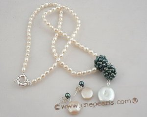 pnset359 Cheery white rice shape freshwater pearl costume necklace jewelry set