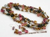 pnset361 Triple strands Colorful freshwater pearl layer costume necklace
