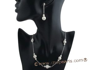pnset367 Gorgeous sterling silver cultured potato pearl necklace jewelry set