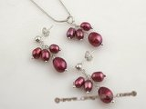 pnset370 Sterling silver Grape design wine red rice pearl pendant necklace set