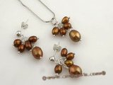 pnset371 Chocolate cultured rice pearl Grape design jewelry set in 925silver