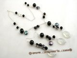 pnset382 Stylish Black style pearl& gemstone costume jewelry set in sterling silver