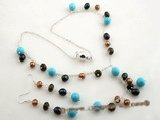 pnset384 Stylish 925silver rice pearl & turquoise costume necklace set
