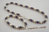 pnset388 Round amethyst and cultured potato Pearl Necklace& bracelet jewelry set
